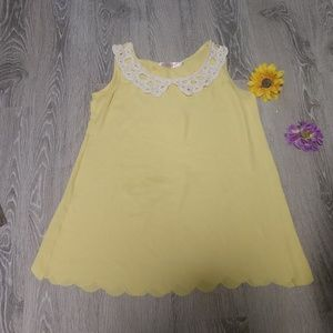 Allegra K loose fit yellow tank with lace neck